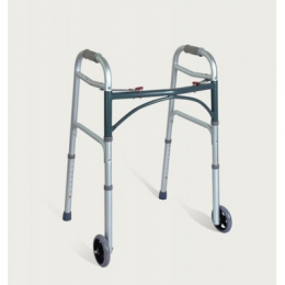 Aluminum Two Button Folding Walker with Wheels
